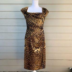 Tadashi Shoji Dresses - TADASHI SHOJI Leopard Animal Print Ruched Dress
